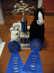 Marshmallow & Blackie show off Sophie\'s trophy and ribbons