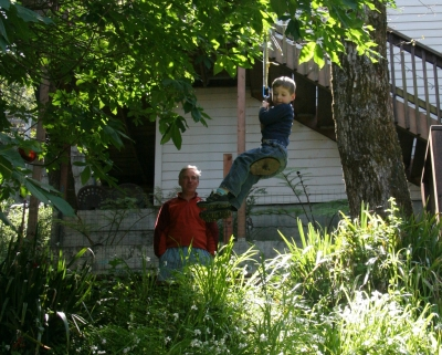 On Audrey\'s awesome tree swing