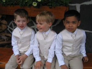 Leo, Finn and David at Jenny & Bill's Wedding, Mt. Engadine Lodge, Canmore, Alberta