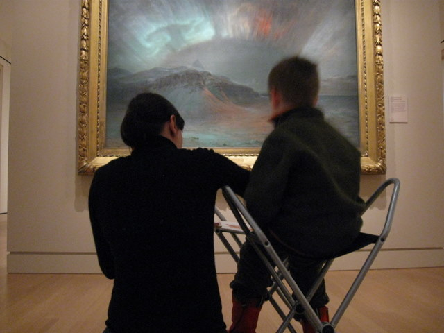 ...followed by a trip to the Peabody Essex (Sophie and Leo sketching)