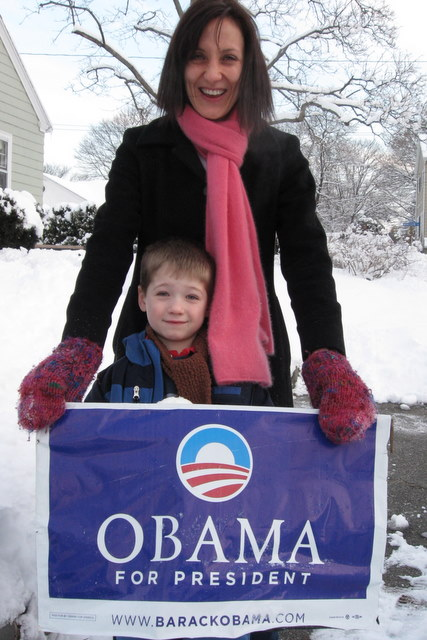...and a big celebration on Tuesday!  (Leo and Sophie with our year-old lawn sign)