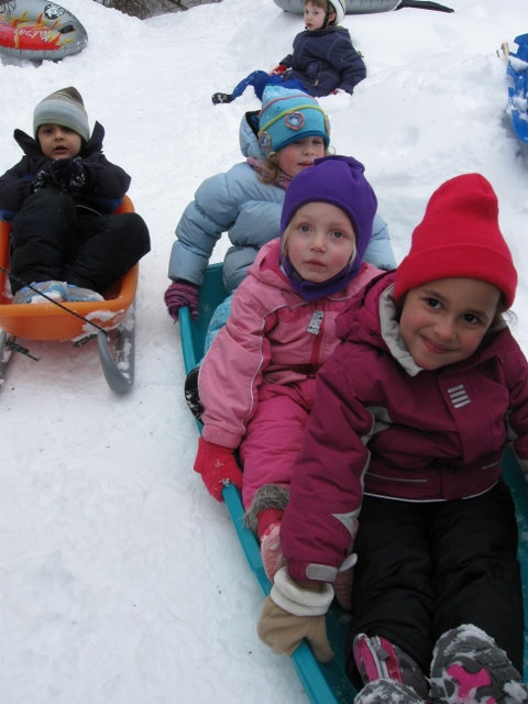 Sam, Violette, ???, and Maya ready to go down the hill
