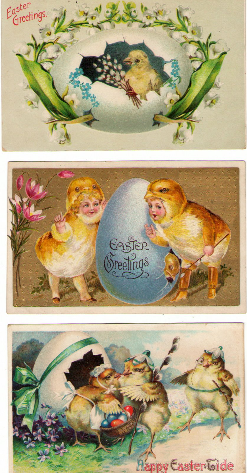 three Easter post cards with pussy willows
