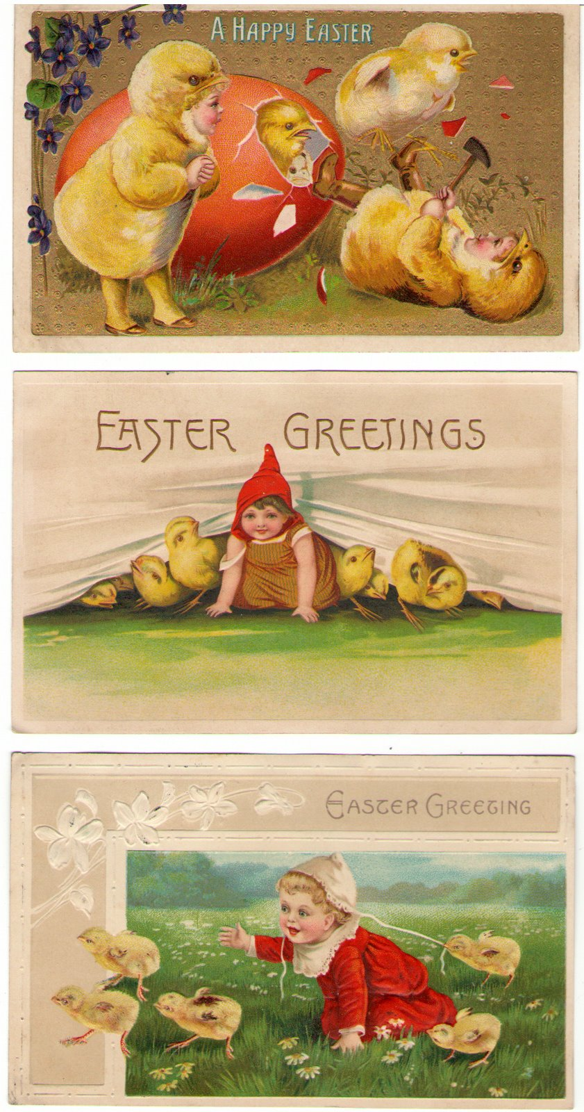 Easter post cards with cute kid