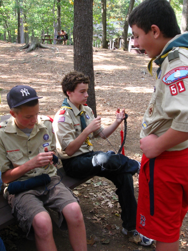 Finger knitting boy scouts